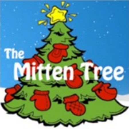 "Clip art image depicting a Christmas tree with red mittens on it (""The Mitten Tree"")"